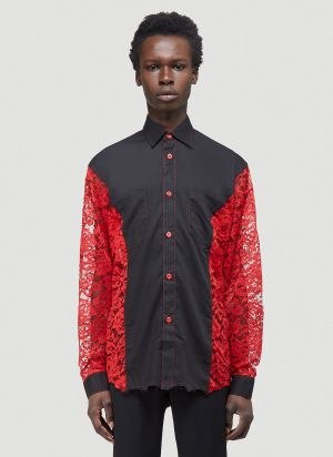 Youths In Balaclava Lace-Panelled Shirt in Black