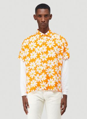 ERL Flower-Print Shirt in Orange
