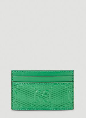 Gucci Perforated-Leather Card Holder in Green