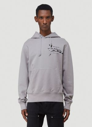 Helmut Lang Logo-Print Hooded Sweatshirt in Grey