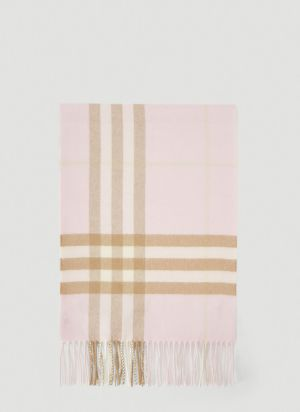 Burberry Classic Check Cashmere Scarf in Pink