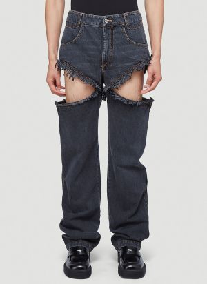 Telfar Thigh-Hole Jeans in Black