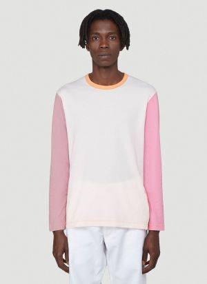 Comme Des Garcons SHIRT Contrast-Panel Long-Sleeved Top in Pink