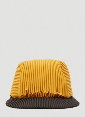 Homme Plissé Issey Miyake Two-Tone Baseball Cap in Orange