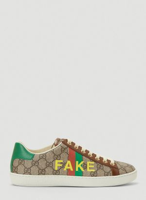 Gucci Fake Not Ace Sneakers in Brown