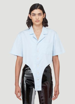 Ninamounah Bret Short-Sleeved Shirt in Blue