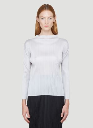 Pleats Please Issey Miyake Basics Long-Sleeved Top in Grey