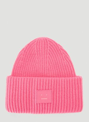 Acne Studios Face Beanie Hat in Pink