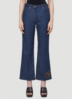 Gucci Logo-Patch Cropped Jeans in Blue