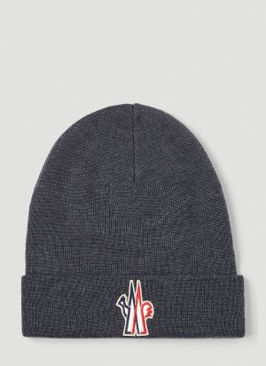 Moncler Grenoble Logo Beanie Hat in Grey