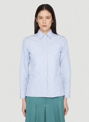 Maison Margiela Pinstriped Shirt in Blue