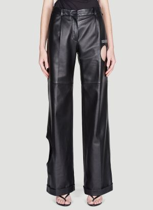 Off-White Meteor Wide-Leg Leather Pants in Black