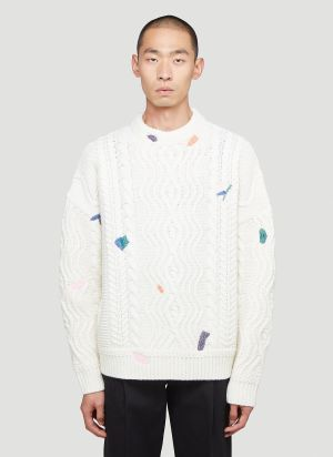 Ader Error Cable-Knit Sweater in White
