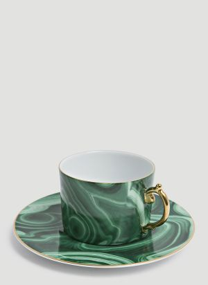 L'Objet Malachite Teacup and Saucer Set in Green