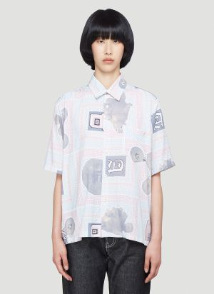 Aries Scarf-Print Shirt in Grey