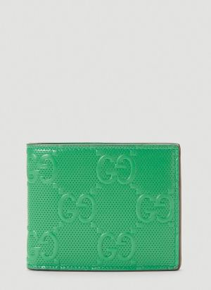 Gucci Perforated-Leather Bi-Fold Wallet in Green