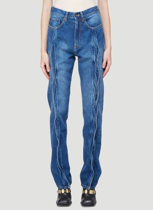 Y/Project Twisted Front-Seam Jeans in Blue
