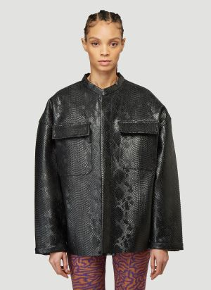 Maisie Wilen Embossed Faux-Leather Jacket in Black