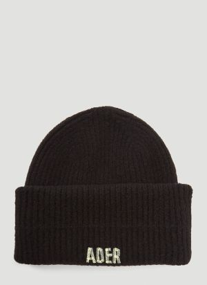 Ader Error Knitted Beanie Hat in Black