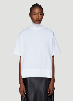 Acne Studios Stand Collar T-Shirt in White