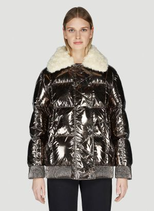 Moncler Iridescent Padded Down Jacket in Grey