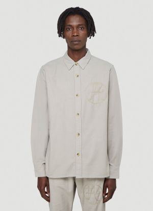 Vyner Articles Worker Embroidered Shirt in Grey