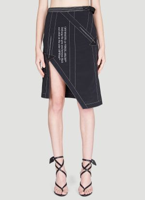 Off-White Asymmetric Contrast-Stitch Skirt in Black