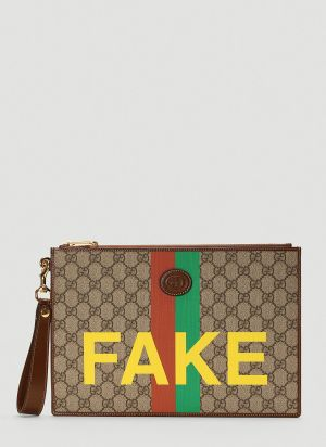 Gucci Fake Not Pouch in Brown