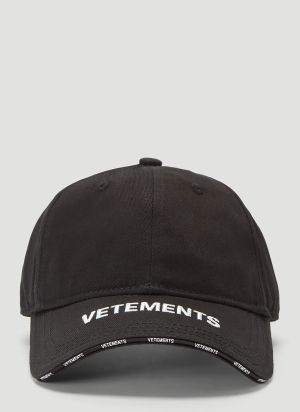 Vetements Embroidered Logo Baseball Cap in Black