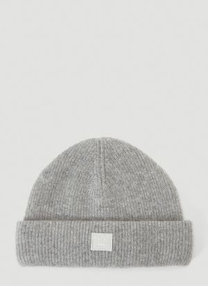 Acne Studios Ribbed-Knit Beanie Hat in Grey