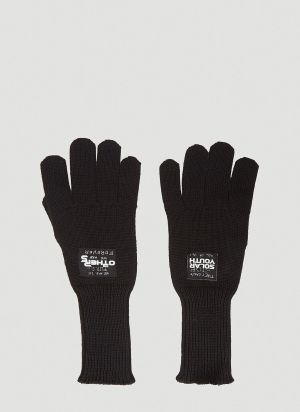 Raf Simons Logo-Patch Knitted Gloves in Black
