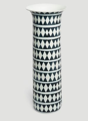 L'Objet Large Tribal Diamond Vase in Black