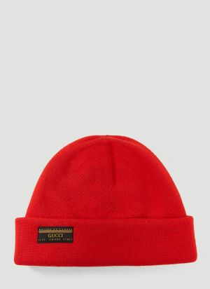 Gucci Vintage Logo Beanie Hat in Red