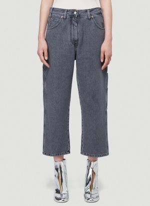MM6 Maison Margiela Cropped Straight-Leg Jeans in Grey