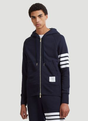 Thom Browne 4 Bar Hooded Sweater in Blue