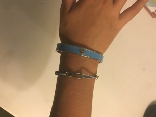 For more jewellery, I am wearing a light blue, basic bracelet from Mimco, and an infinty bracelet from Equip.
