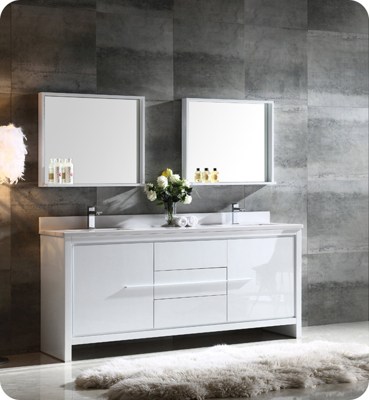 "Fresca FVN8172WH Allier 72"" Double Sink Modern Bathroom"