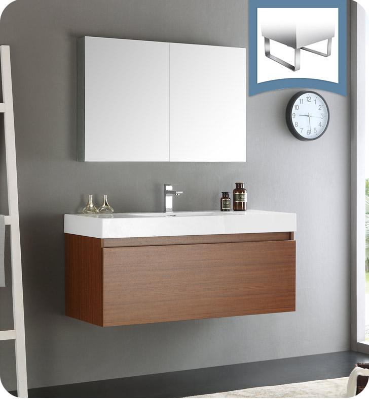 Fresca FVN8011TK Mezzo 48 Teak Wall Hung Modern Bathroom