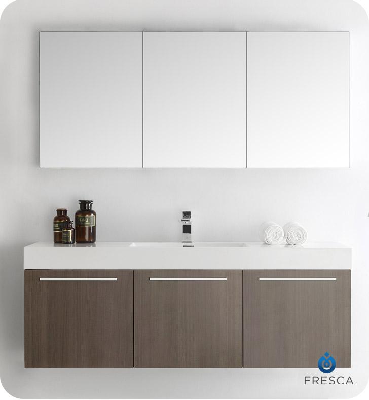 Fresca FVN8093GO Vista 59 Gray Oak Wall Hung Single Sink