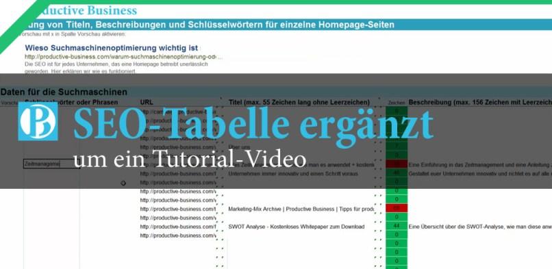 SEO-Tabelle ergänzt um ein Tutorial-Video