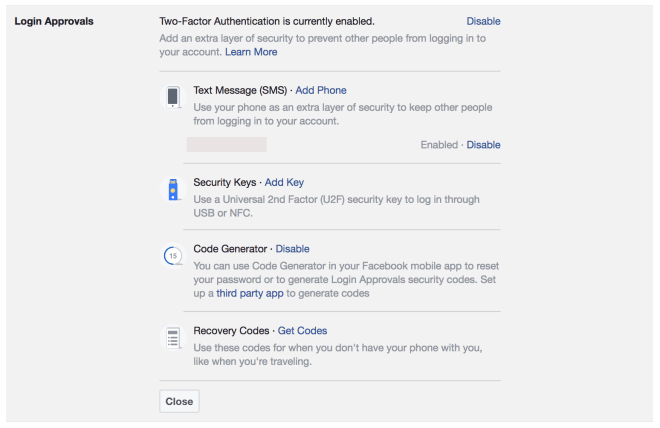 Facebook Login Approvals Screen Shot
