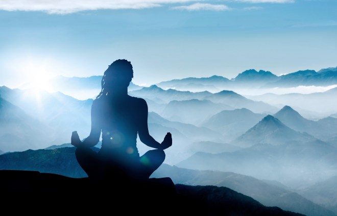 picture of a yogi meditating facing the mountains.