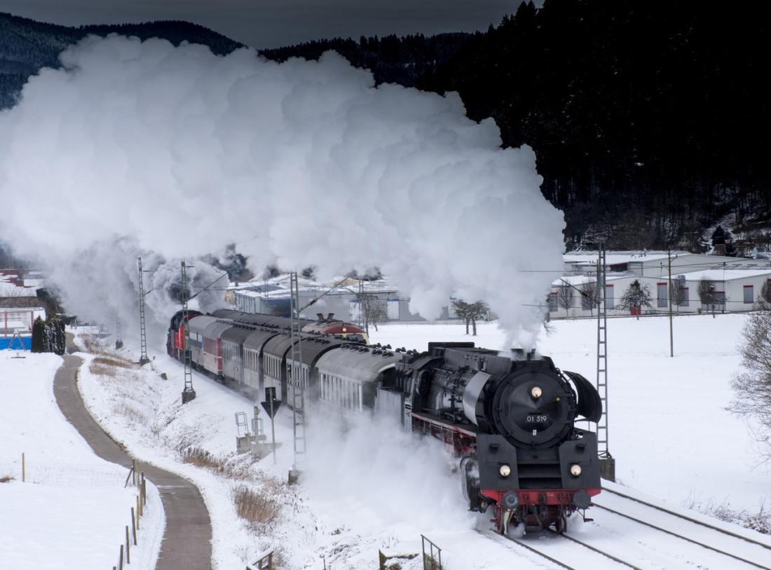 steam train on viaduct