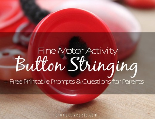 Fine Motor Activity Button Stringing Plus Free Printout Questions & Prompts for Parents