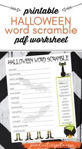 Free Printable Halloween Word Scramble PDF for Kids