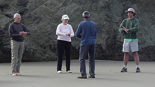 Working on bagua exercises at Bandon with senior instructor Joel Hartshorne. I'm on the far right.