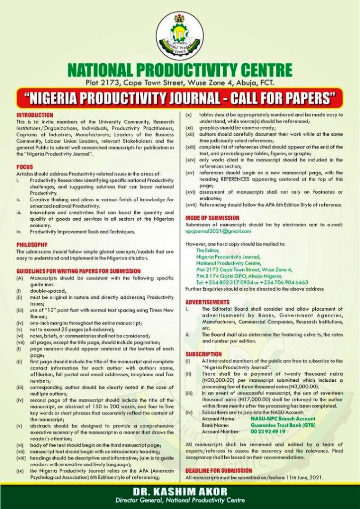 Nigeria Productivity Journal - Call for Papers