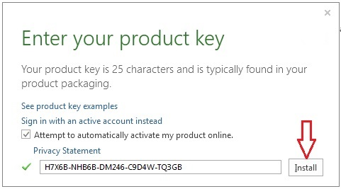 Product key for Microsoft offfice 2013