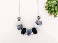 Clay-bead Necklace Black-Grey-Silver