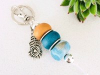 Clay-bead Peacock Keyring